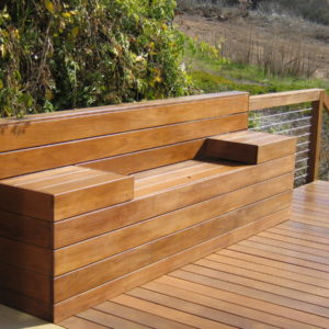 Hardwood Bench and Cable Railing