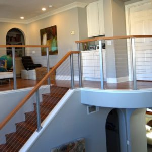 Interior Stainless and Mahogany Railing