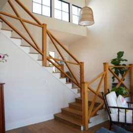 wooden x railing