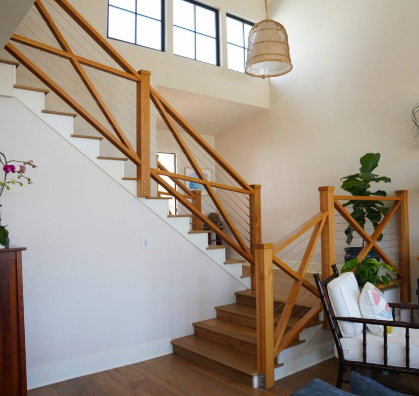 Custom Wooden X Railing With Stainless Cable